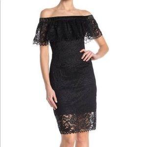 Black lace, off the shoulder Betsy Johnson dress